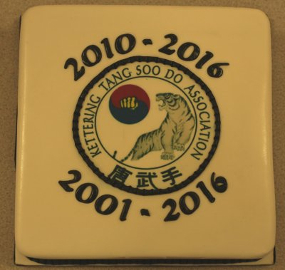 anniversary cake with club badge