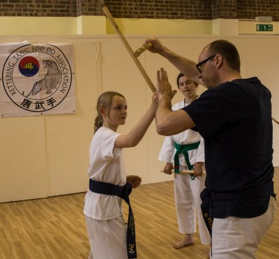 demonstrating short stick techniques